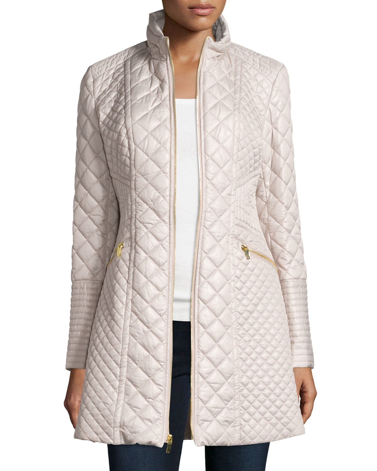 Lyst Via Spiga Quilted Long Puffer Coat In Natural