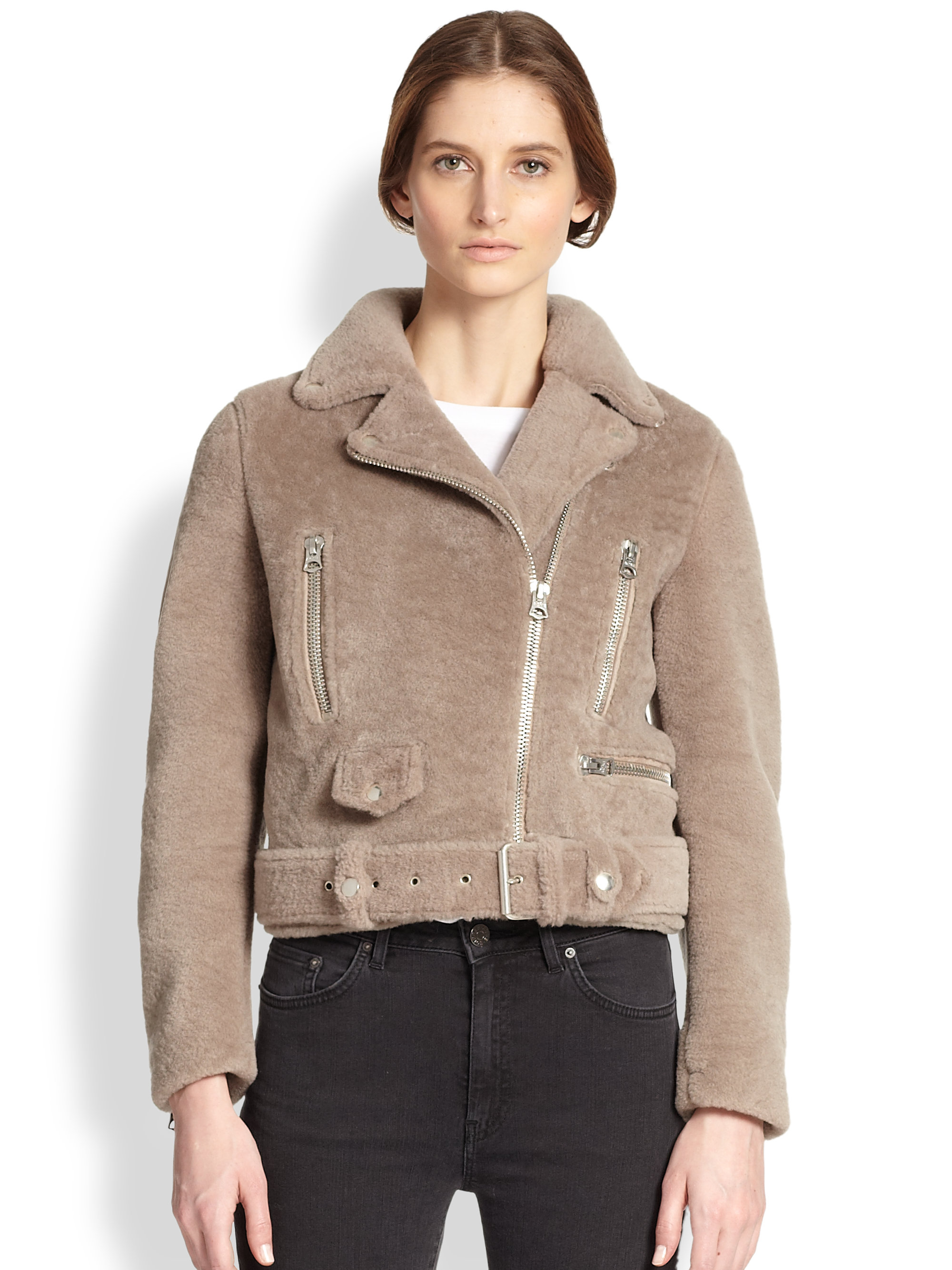 Acne studios Mock Felted Lamb Shearling Motorcycle Jacket in ...