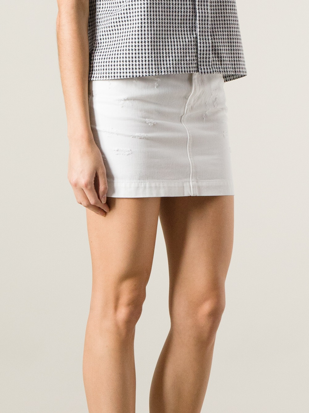 Dolce & gabbana Denim Mini Skirt in White | Lyst