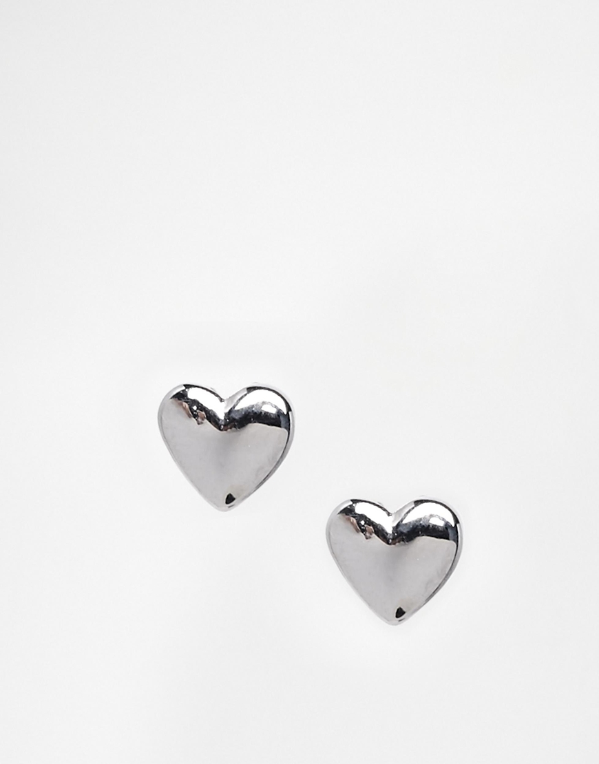 89c6c5a07 Ted Baker Harly Tiny Heart Stud Earrings - Silver in Metallic - Lyst