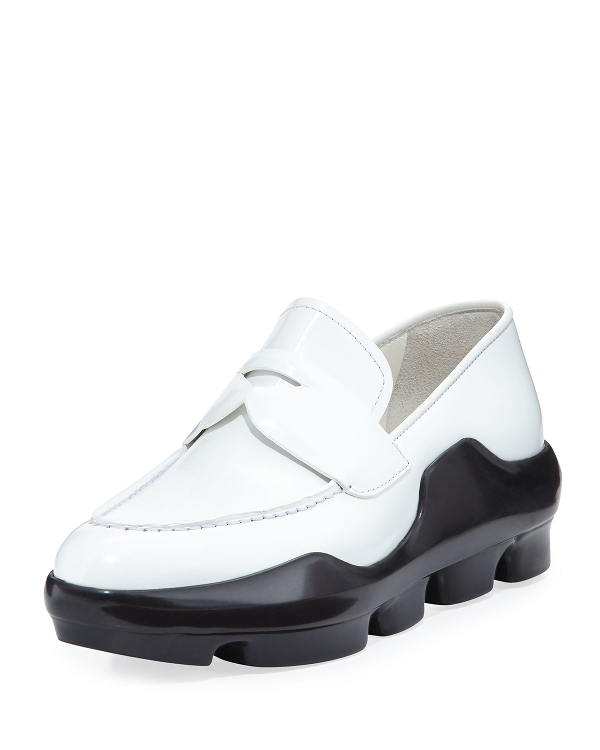 e78171ad504a ... clearance lyst prada leather sneaker style loafer in white for men  feab4 c703f