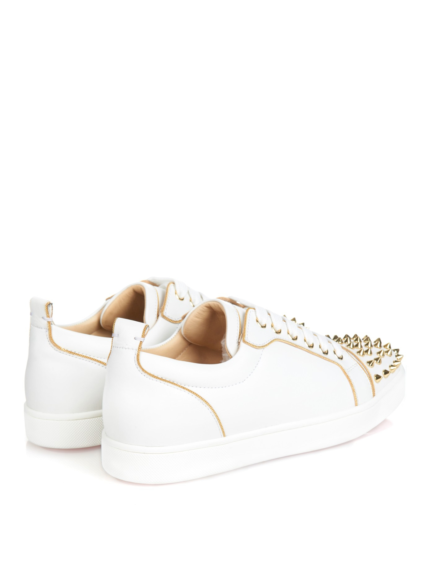 louboutin knock off - Christian louboutin Rush Studded Low-Top Leather Trainers in Gold ...