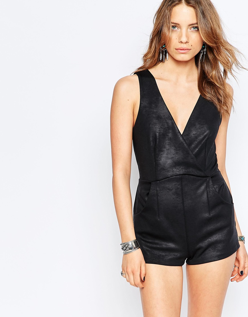 e3a4a976c0 Free People Black Moonlight Faux Leather Playsuit in Black - Lyst