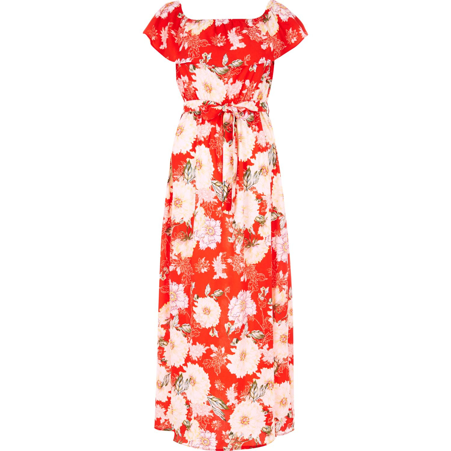 796af84f99a River Island Red Floral Print Bardot Maxi Dress in Red - Lyst