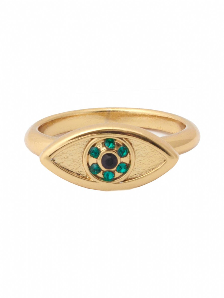 house of harlow 1960 horizontal evil eye stackable ring in