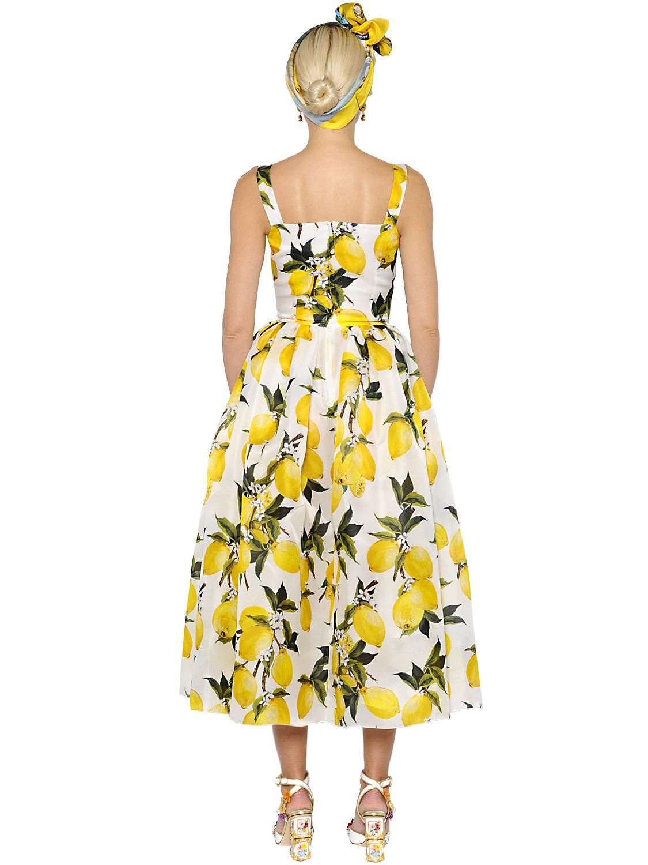 Lyst - Dolce   Gabbana Lemons Print Silk Organza   Satin Dress in Yellow 2235a3af4a331
