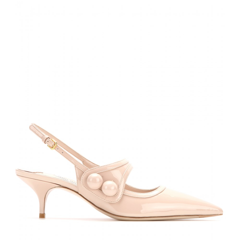 Miu miu Patent Leather Slingback Kitten-heel Pumps in Pink | Lyst