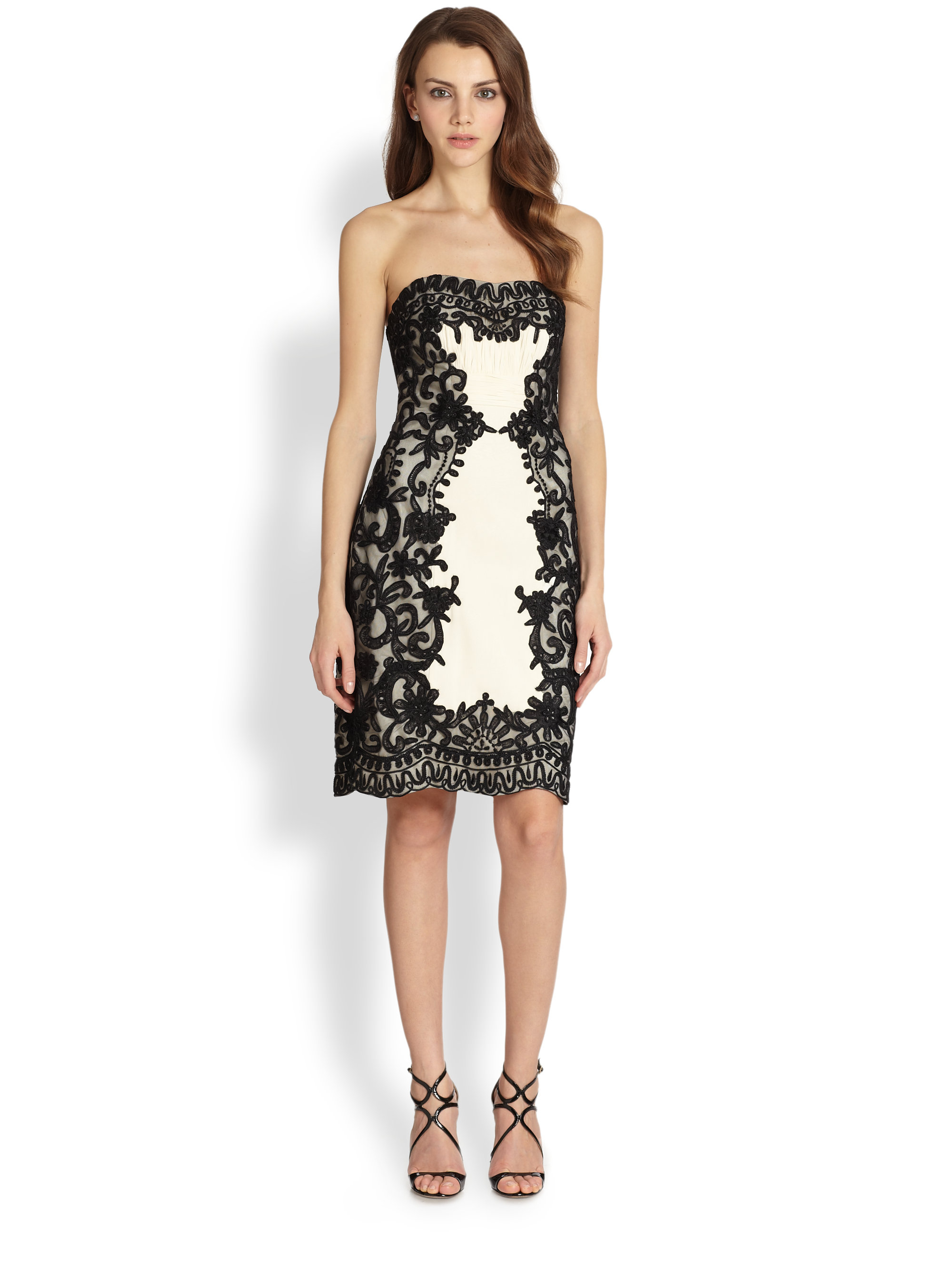 8f17e5f9ddd Lyst - Sue Wong Strapless Embroidery Dress in Black