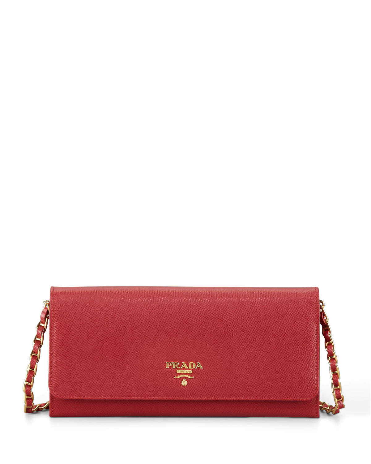 Prada Saffiano Leather Wallet-on-chain in Red | Lyst