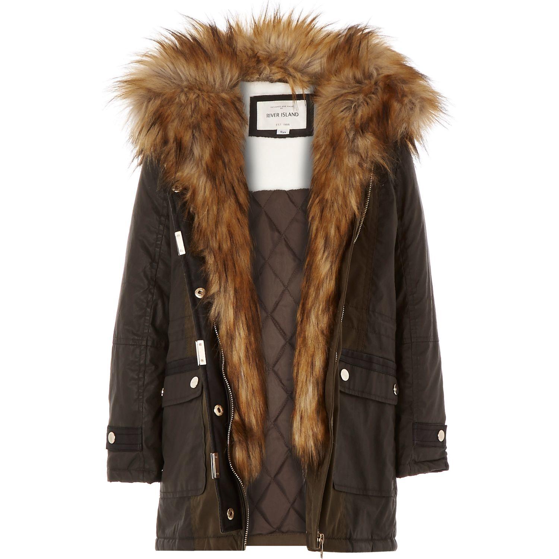 0a07823d8c5e River Island Girls Khaki Faux-fur Trim Parka Coat in Natural - Lyst