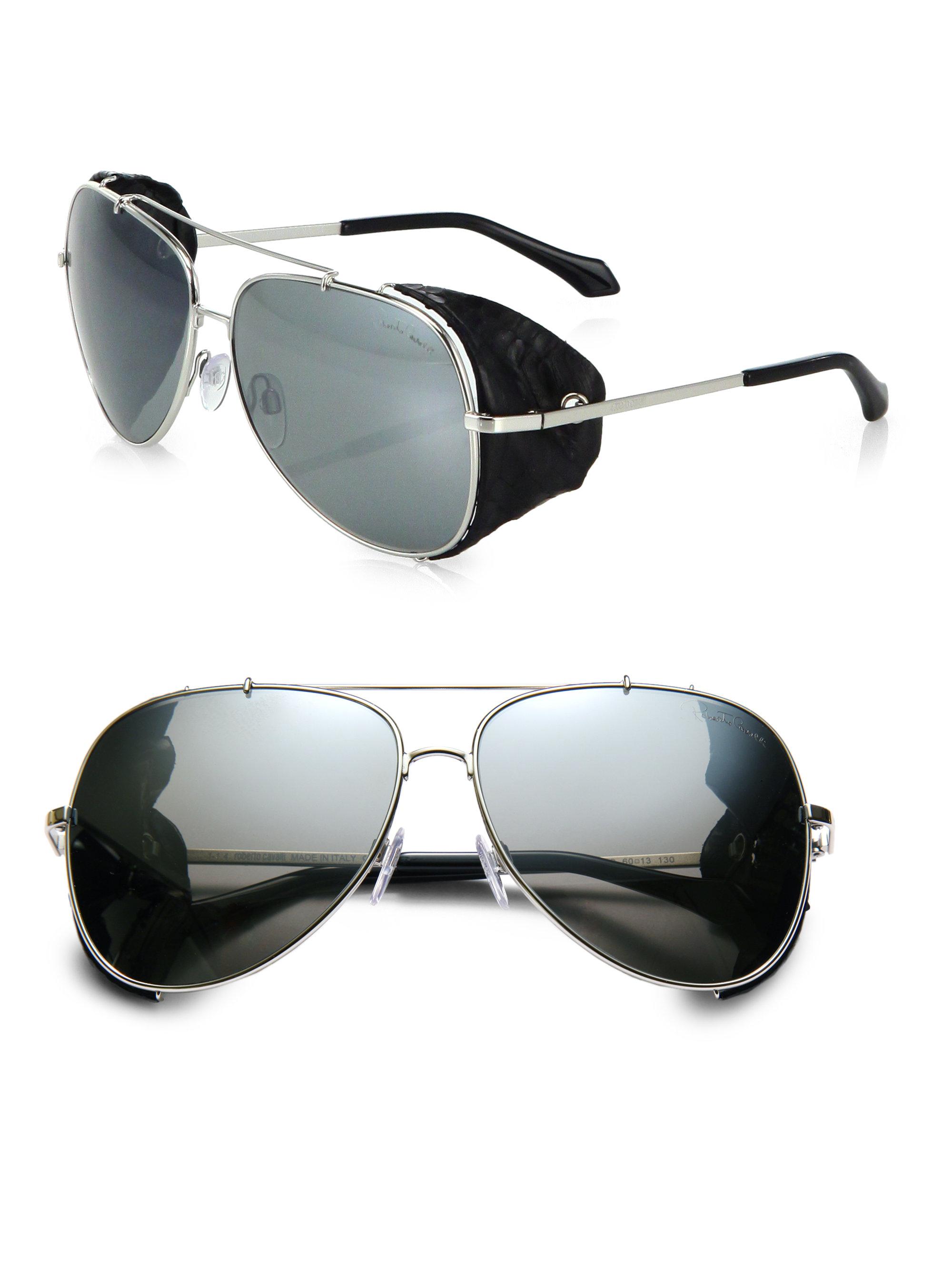 d71efd85a Roberto Cavalli Leather Detail 60mm Aviator Sunglasses in Metallic ...