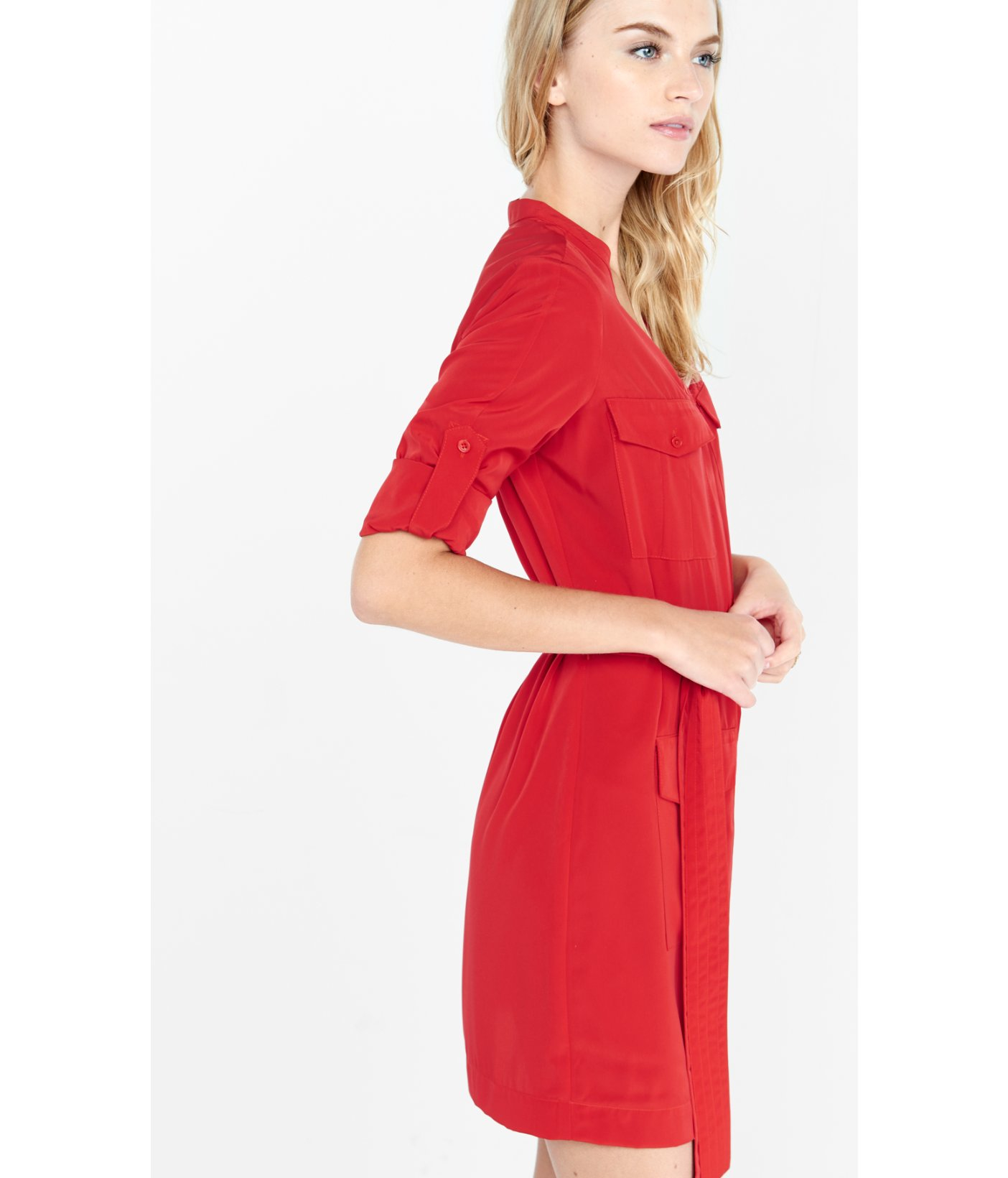 Express Red Four Pocket Military Shirt Dress in Red | Lyst
