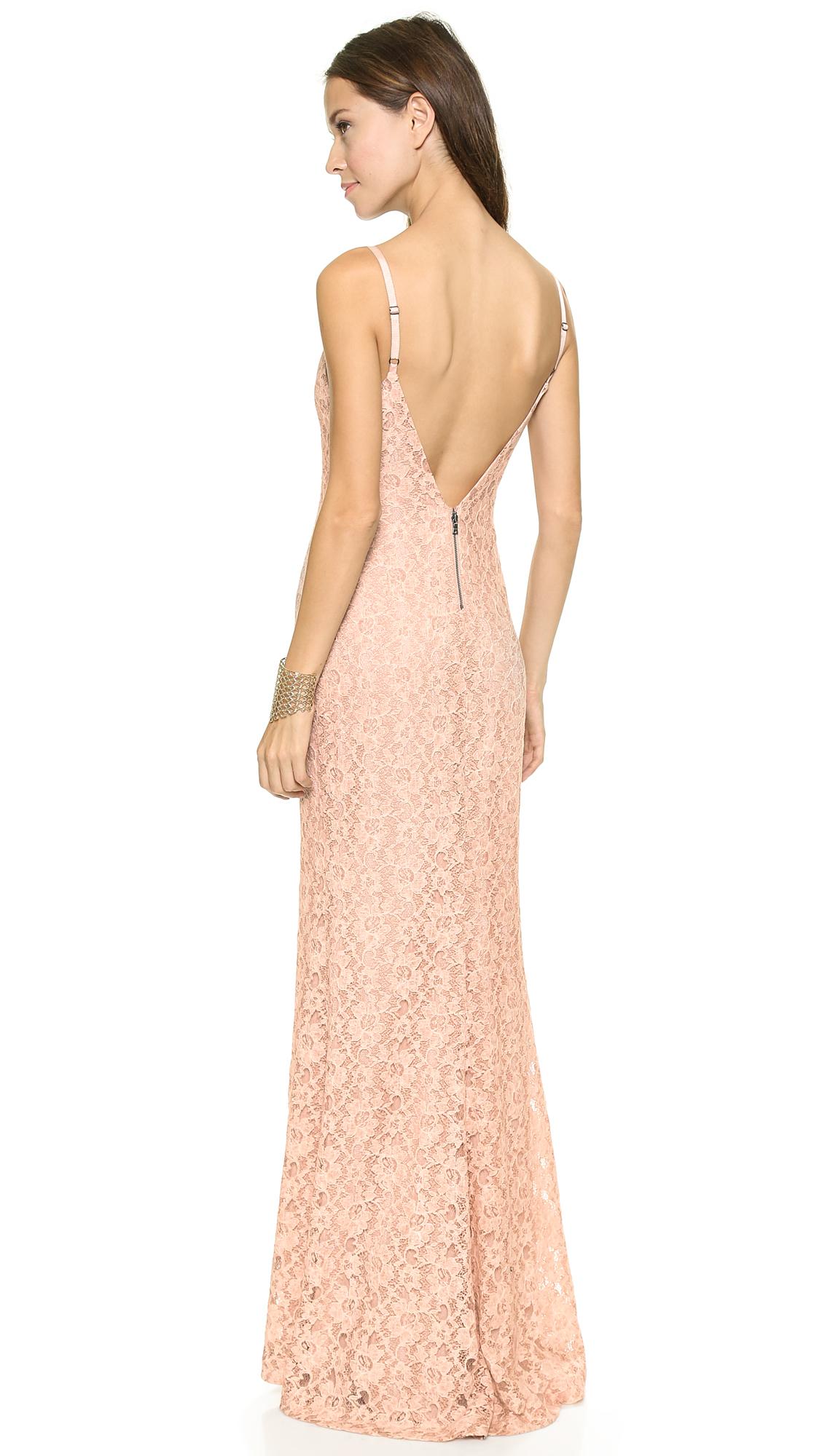 Lyst Alice Olivia Laura Lace Maxi Dress Rose Quartz In Pink