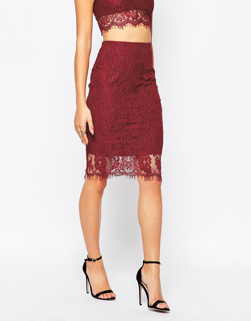 50907586f0c91 Missguided Lace Pencil Skirt in Purple - Lyst