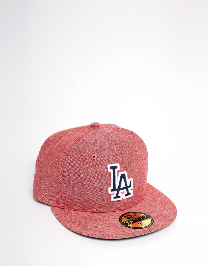 b11e30d0a41 ... usa lyst ktz 59fifty la dodgers cap in chambray and suede in red for men  9c2b9
