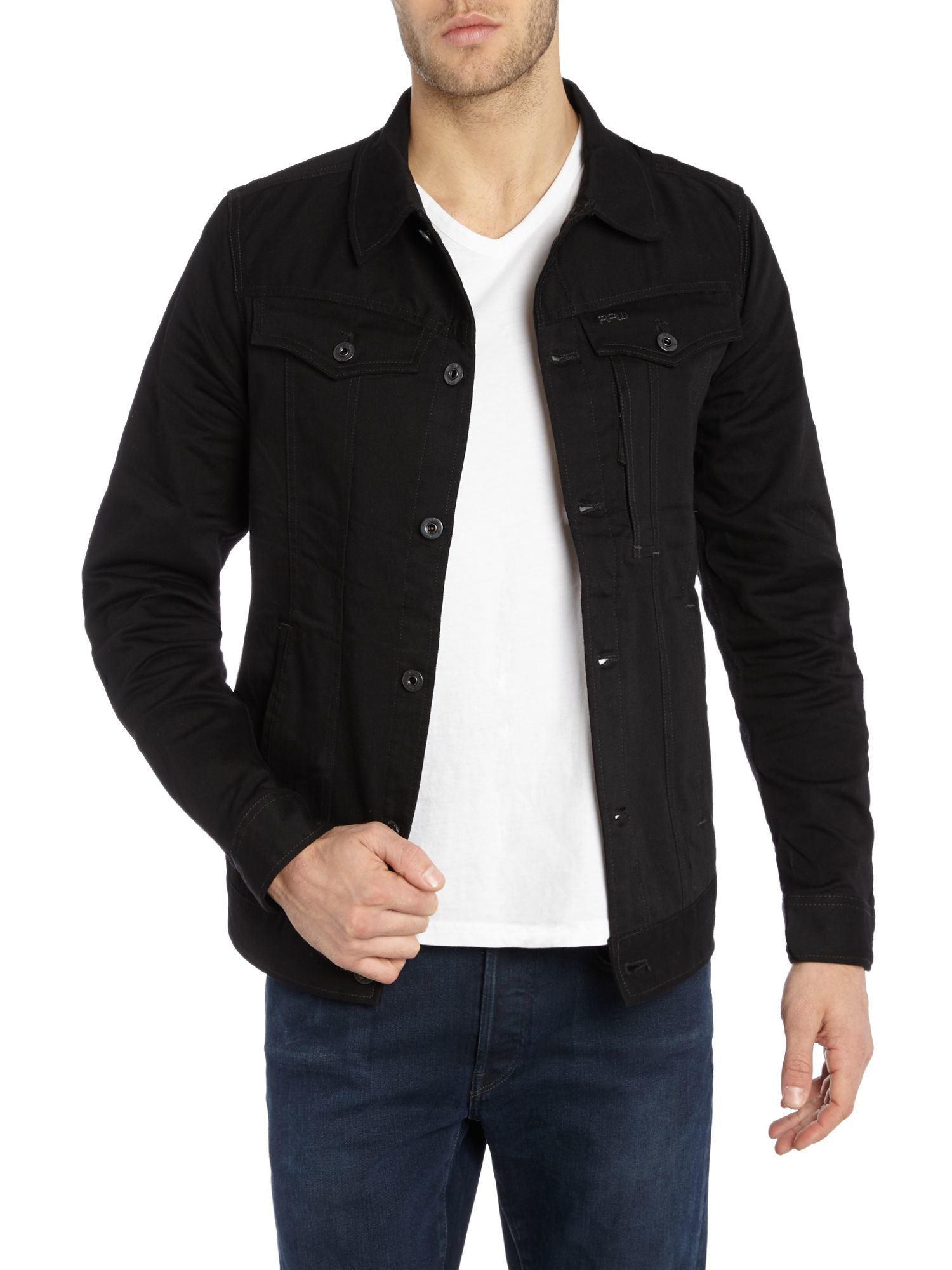 g star raw 3301 slim fit denim pocket detail jacket in. Black Bedroom Furniture Sets. Home Design Ideas