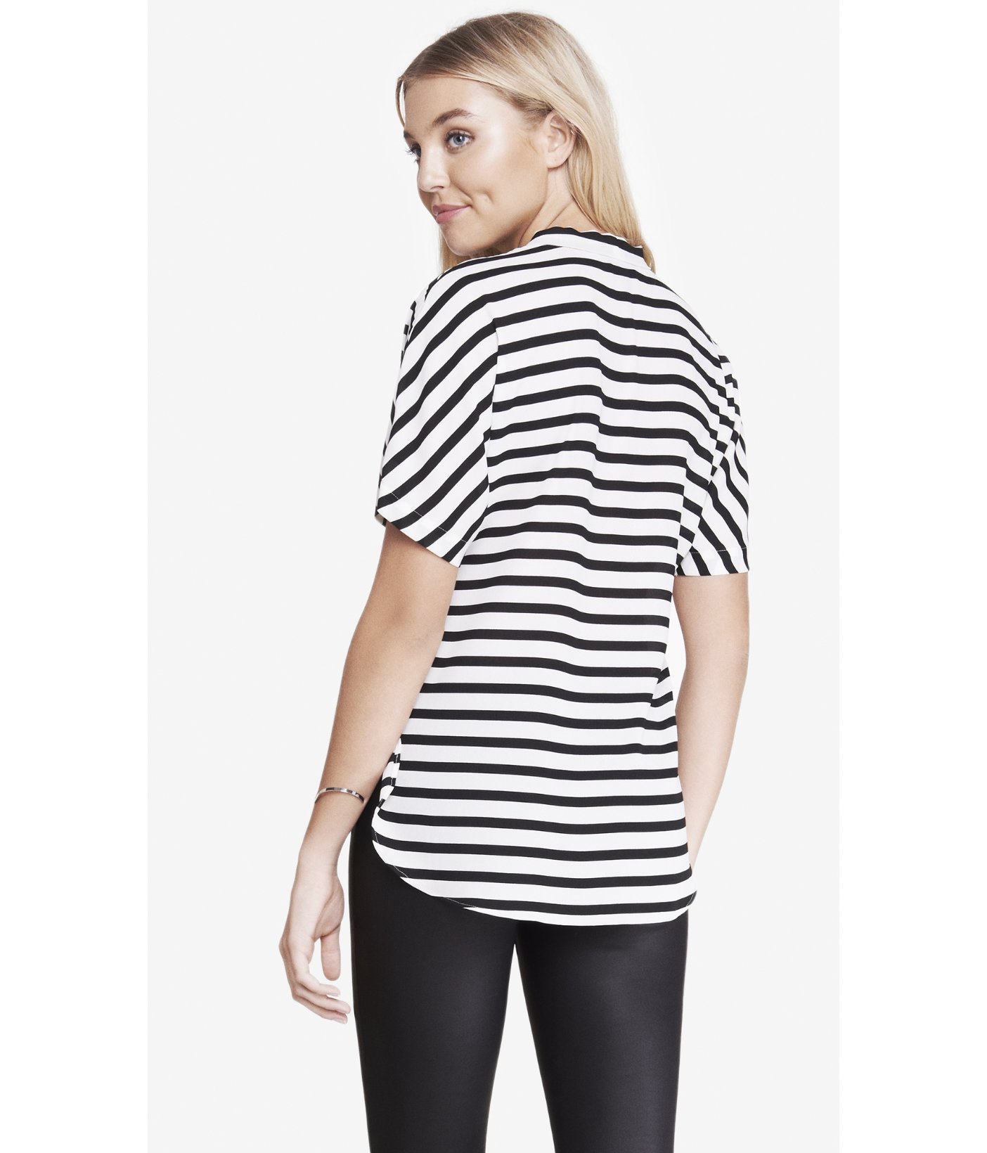 Lyst express striped tie front top in black for Express shirt and tie