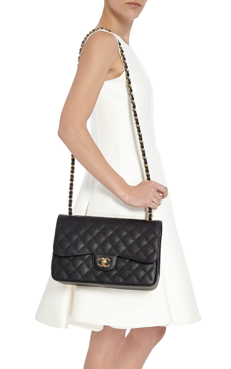 ef472303c288 Madison Avenue Couture Chanel Black Quilted Caviar Jumbo Classic ...