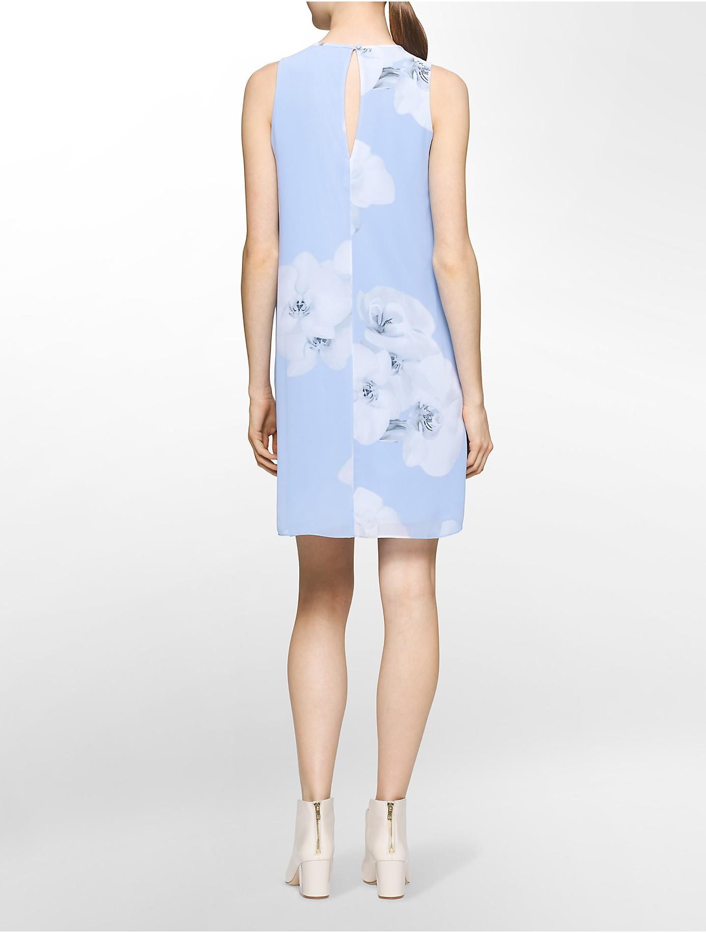 Calvin Klein Blue Chiffon Dress