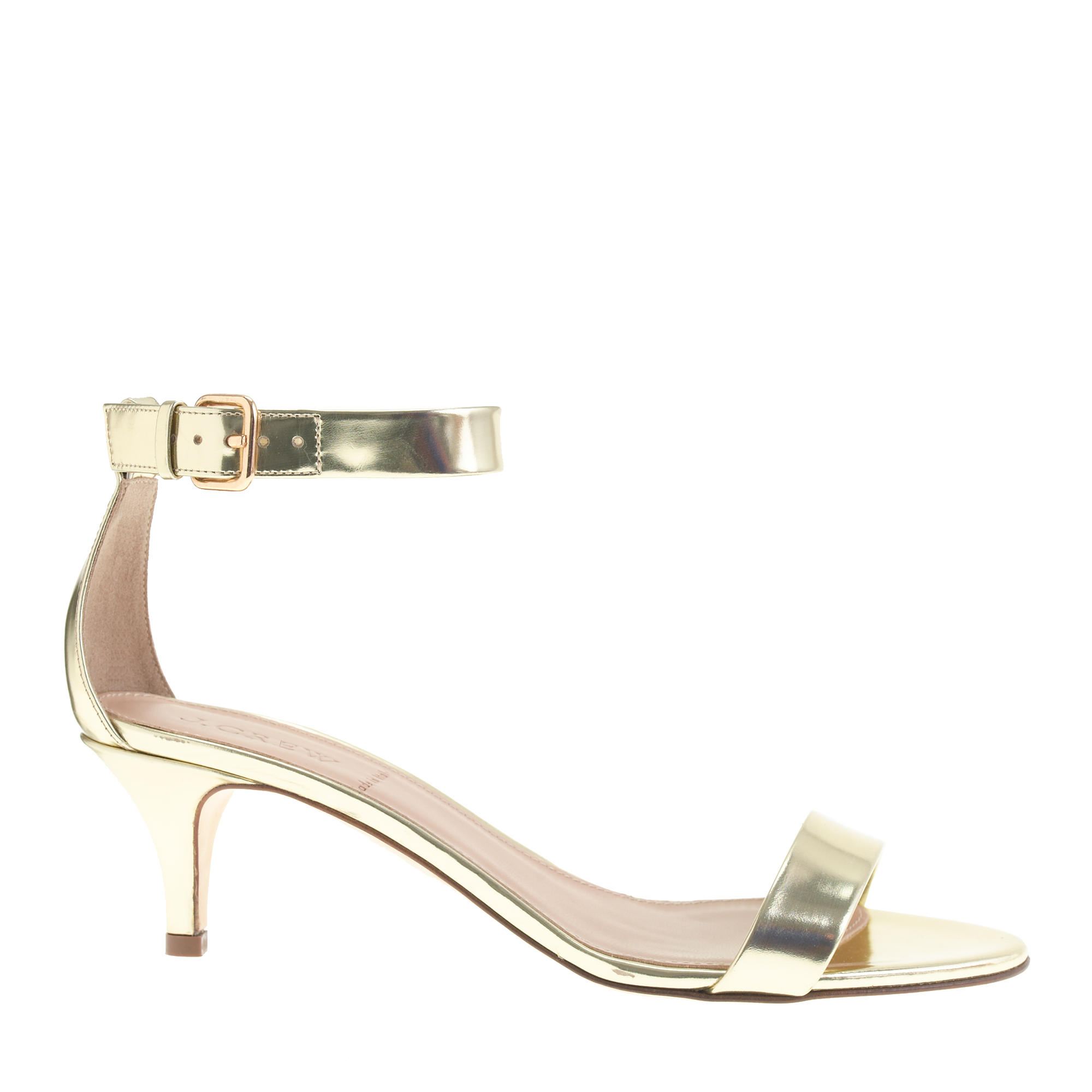Kitten Heel Gold Sandals | Tsaa Heel