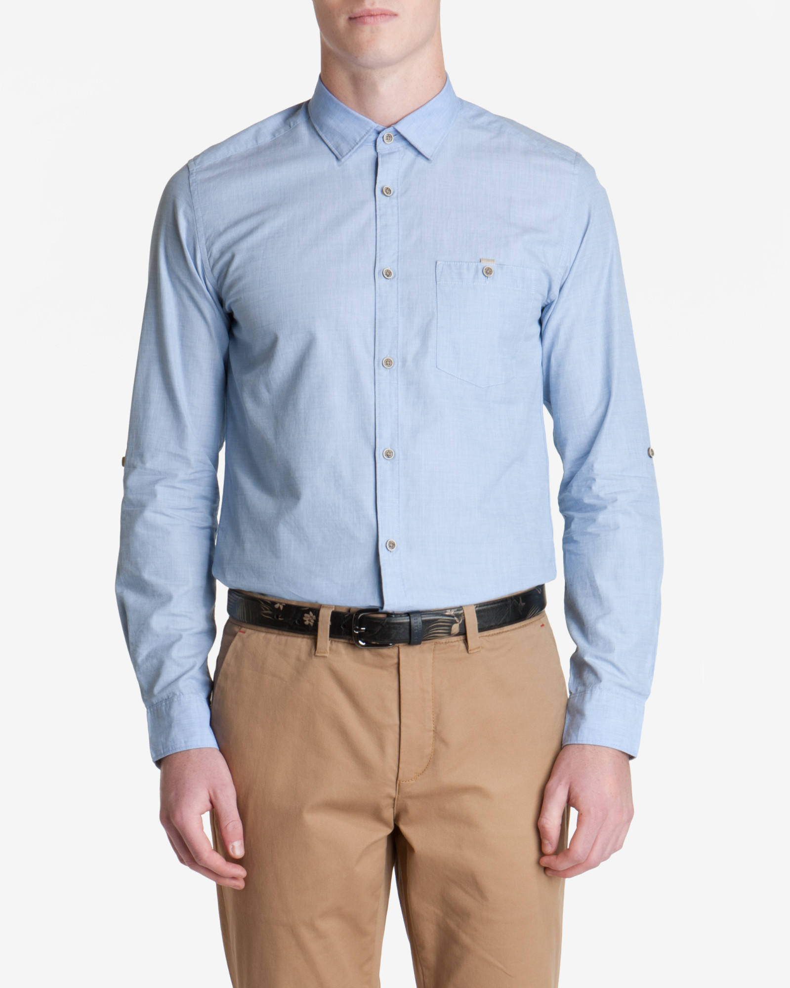 Ted baker cotton roll sleeve shirt in blue for men lyst for Ted baker blue shirt
