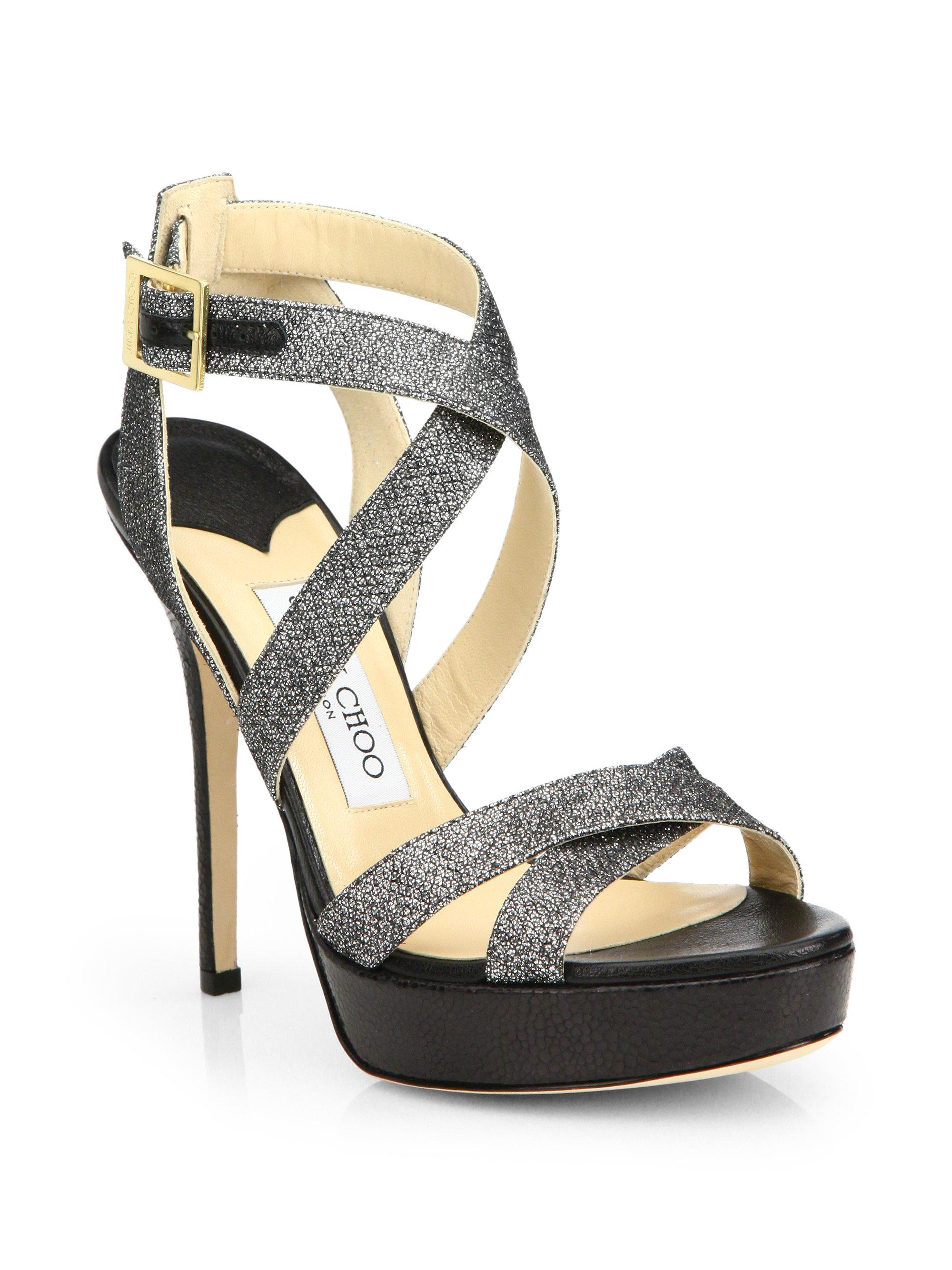 5e2cc9b2c23 Lyst - Jimmy Choo Vamp Glitter-Coated Leather Platform Sandals in ...