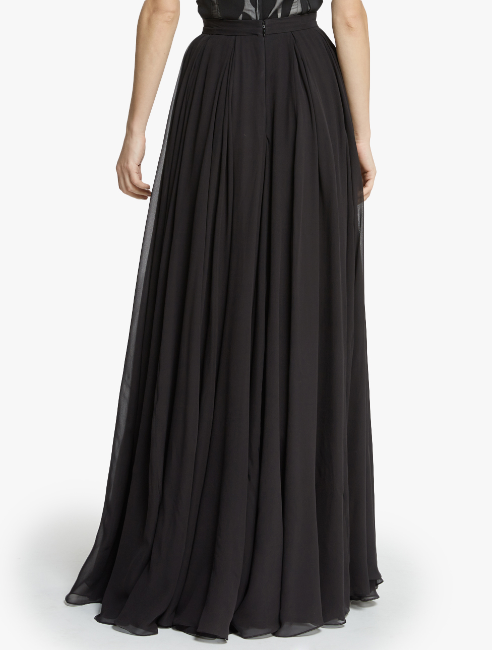 Halston Flowy Georgette Maxi Skirt in Black | Lyst