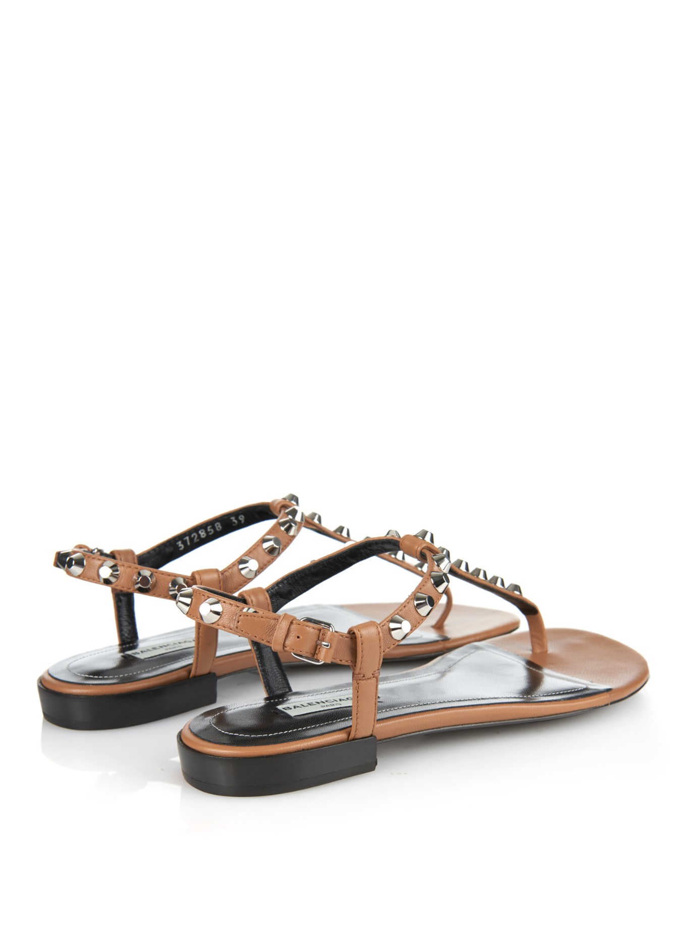 3afe70a8ed4d Lyst - Balenciaga Arena Studded Flat Sandals in Brown