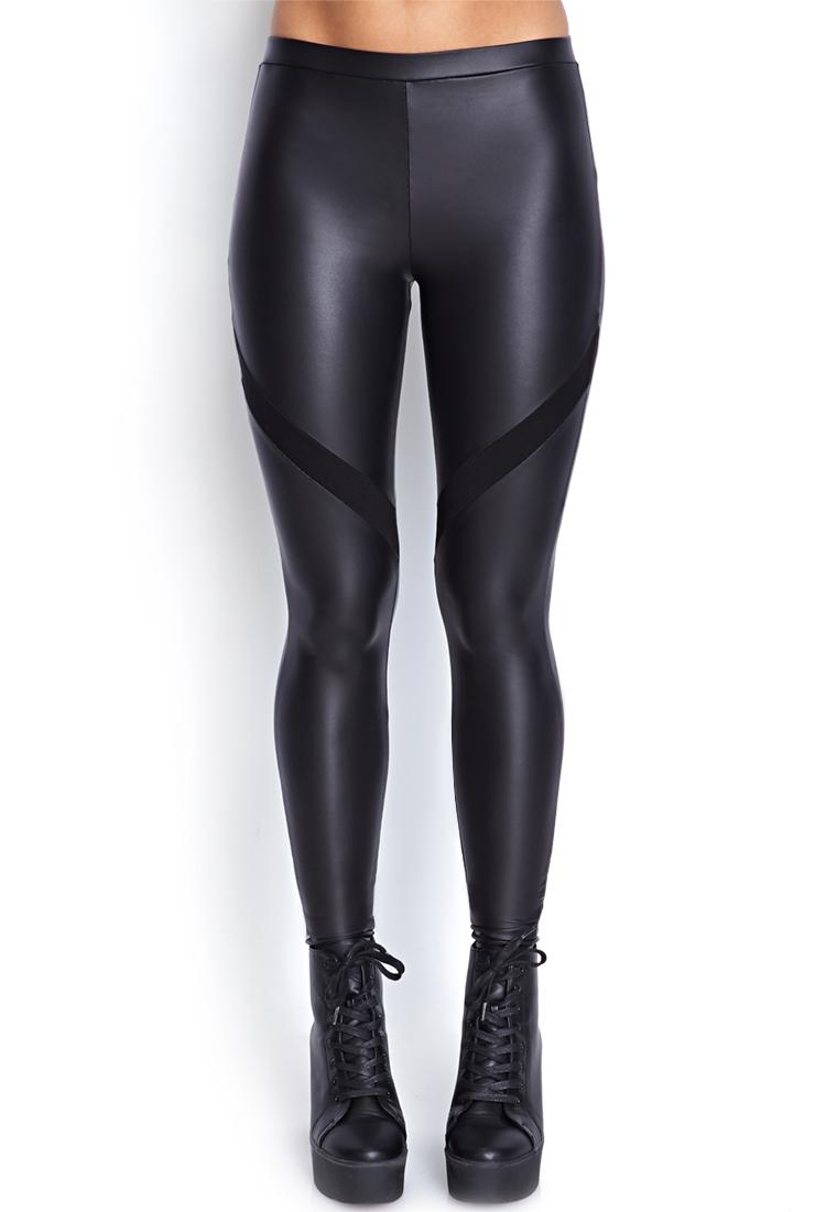 Forever 21 Fresh Faux Leather Leggings in Black | Lyst