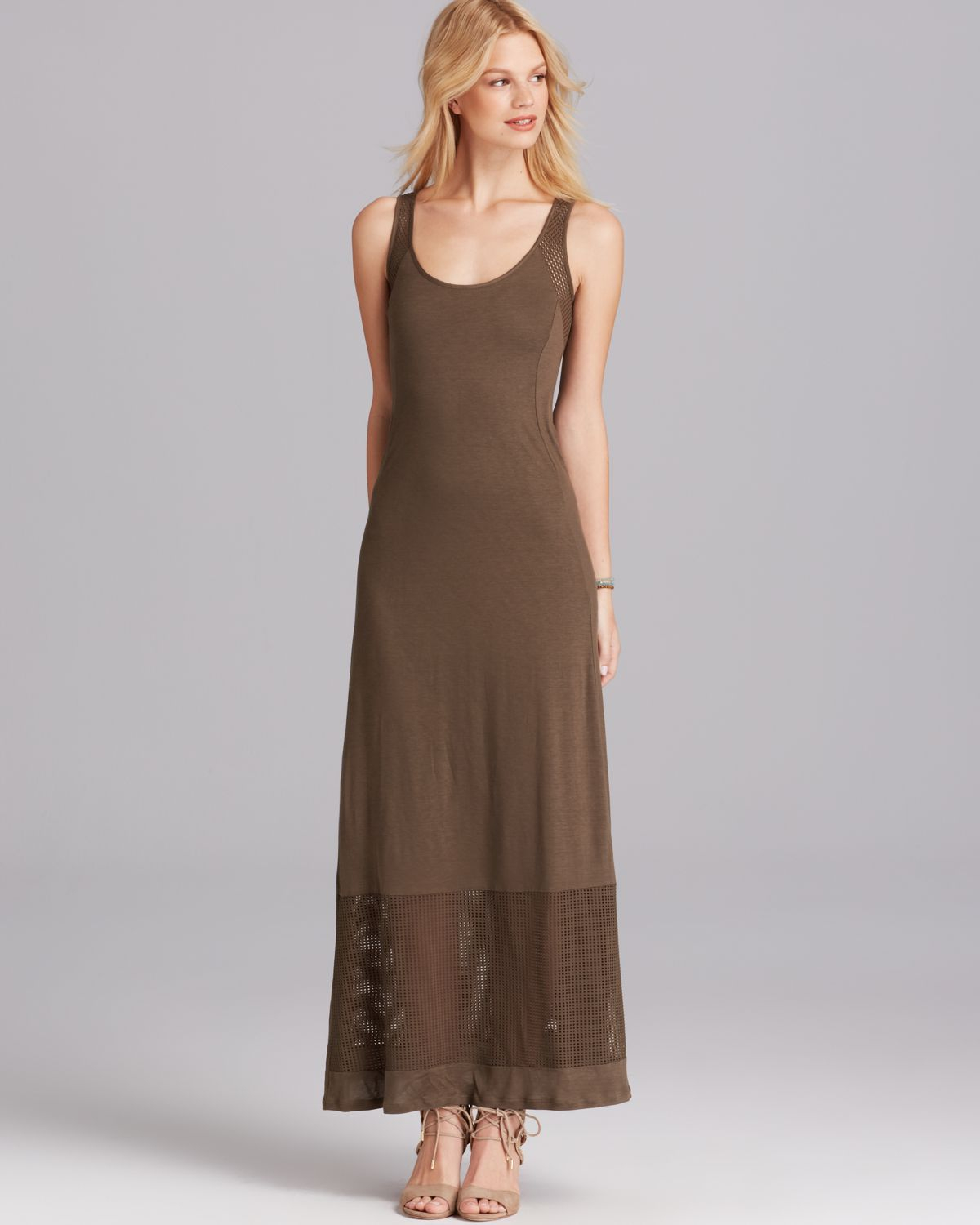 Twenty Maxi Dress Mesh Detail in Brown | Lyst