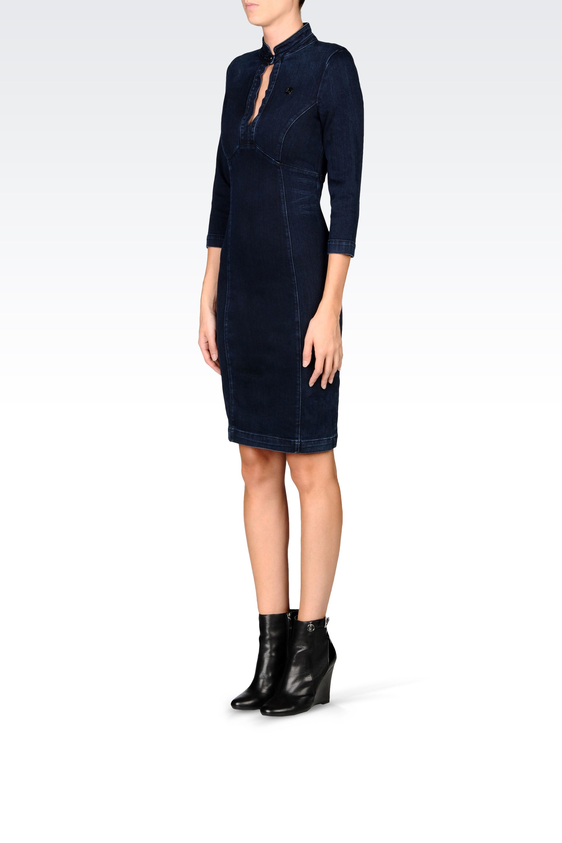 armani denim dress in blue lyst