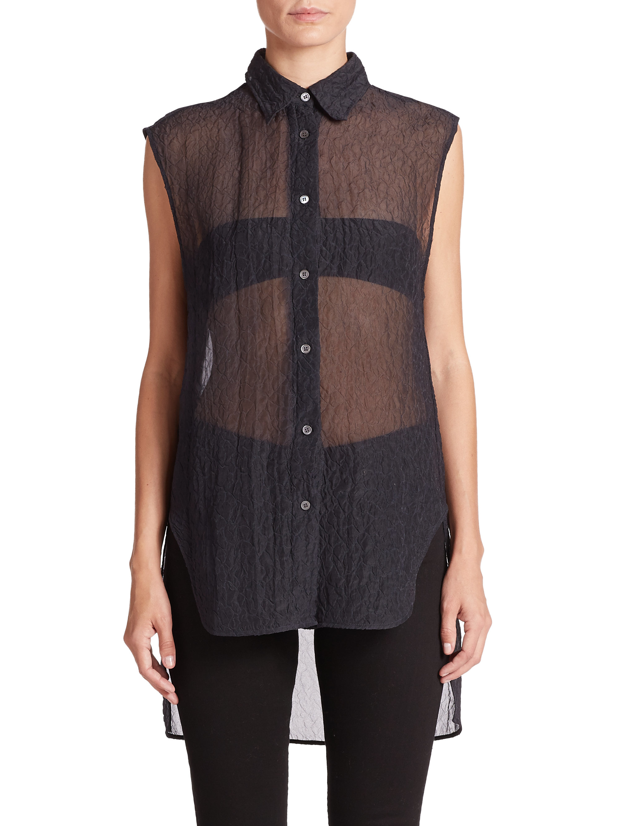 Acne studios tricia sheer cloque button down shirt in gray for Grey button down shirt