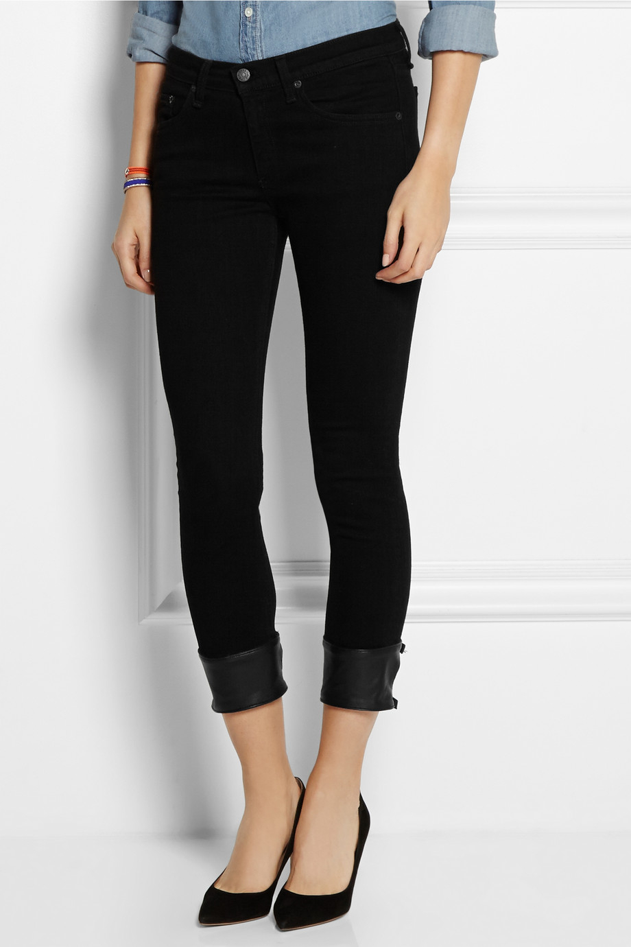 Rag & bone The Capri Leather-Trimmed Mid-Rise Skinny Jeans in ...