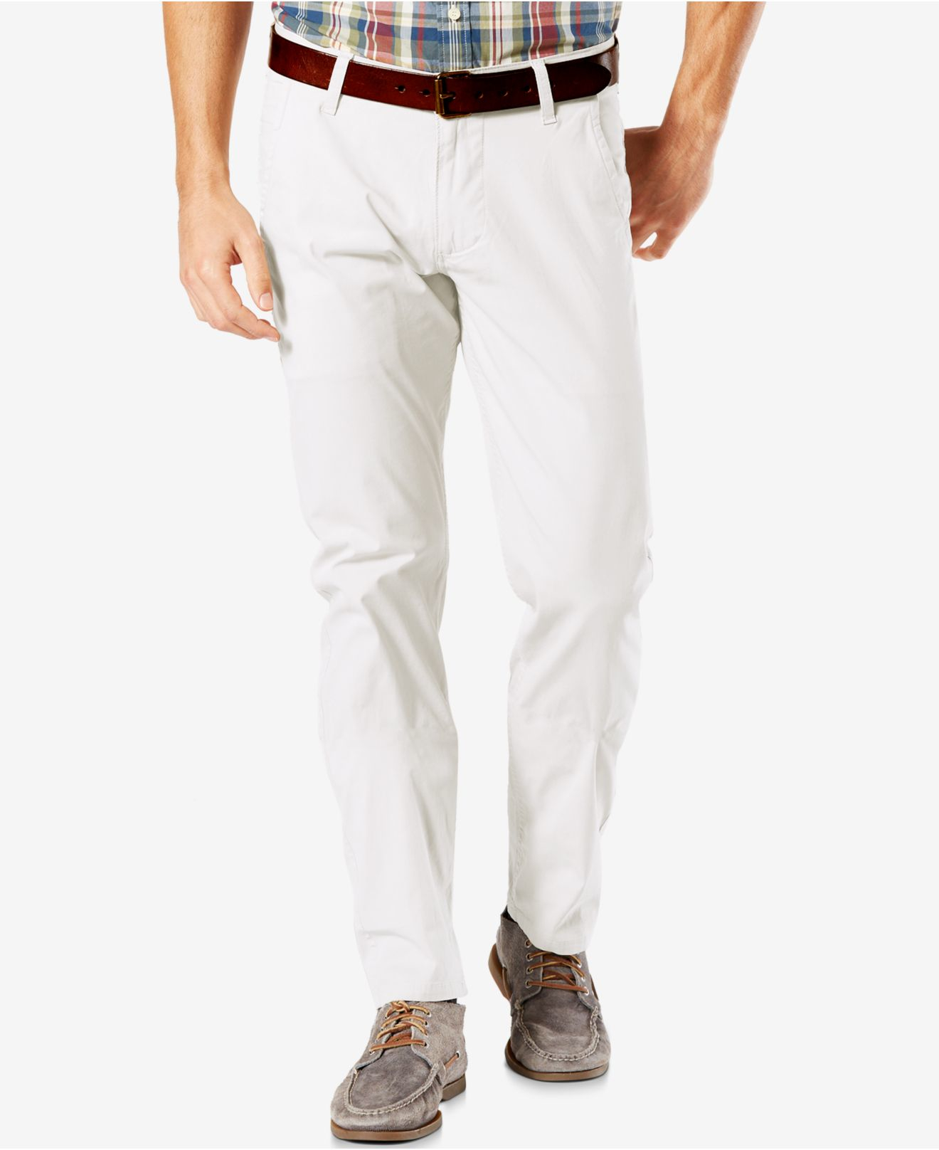 Creative  Shirt  Blouse Polka Dot Tan Pleated Bubble Shirt Khaki Pants White