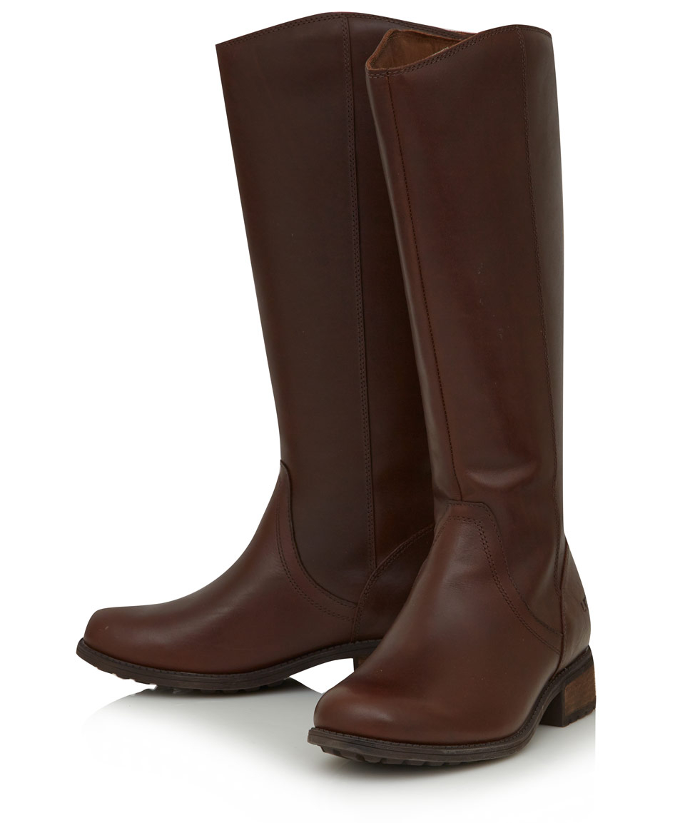 8629b97f91b Lyst - UGG Brown Leather Seldon Flat Knee High Boots in Brown