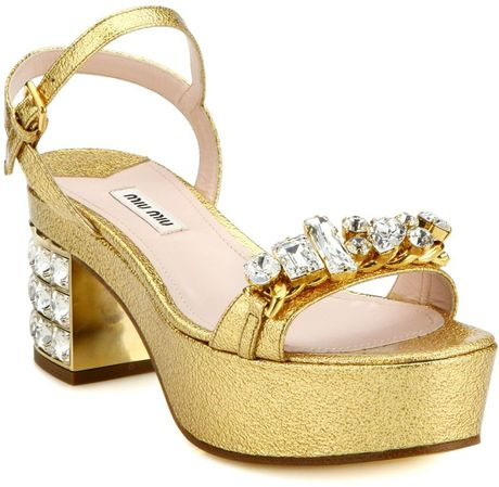 Miu Miu Jeweled Metallic Leather Platform Sandals In Gold