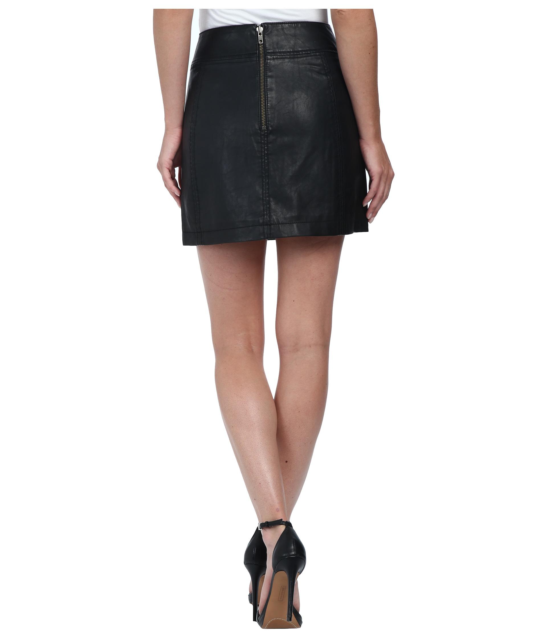 6eac4b9ed Free People Zip To It Vegan Leather Mini Skirt in Black - Lyst