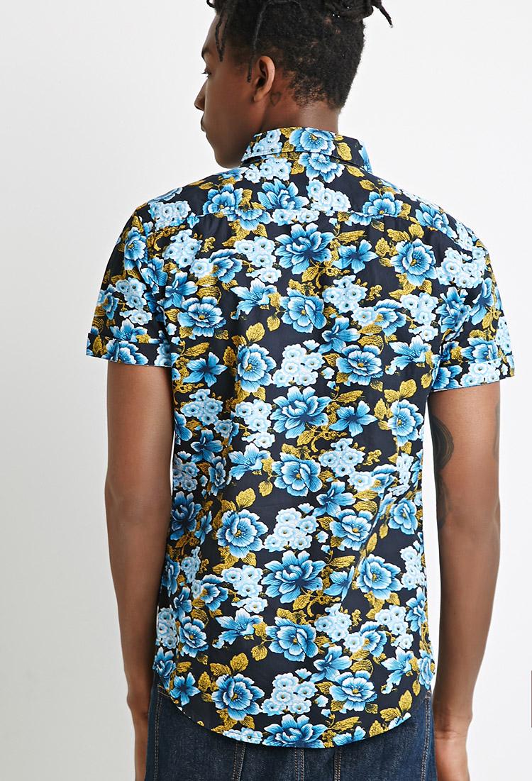 Forever 21 ornate floral print shirt in blue for men lyst for Blue floral shirt mens