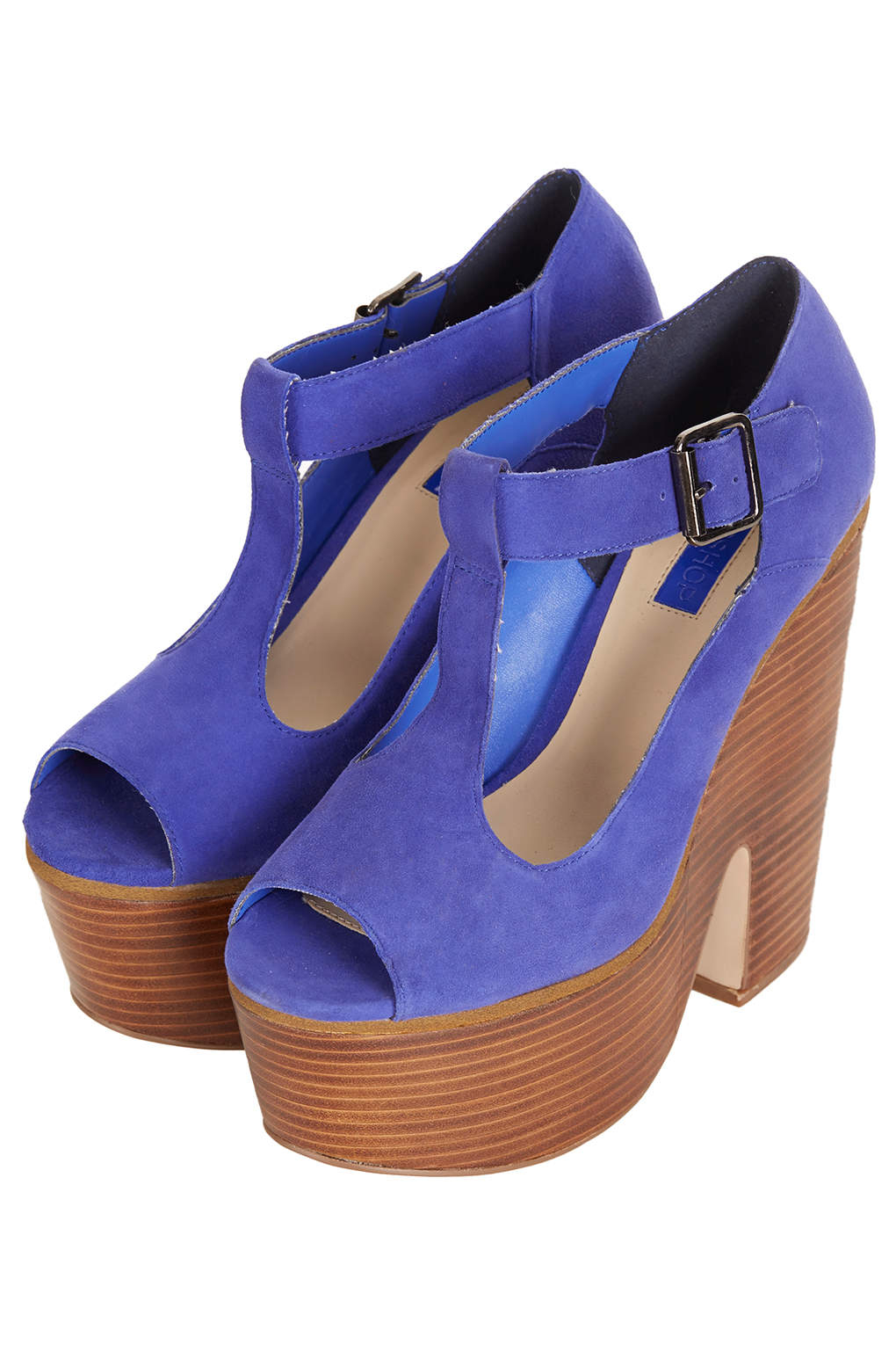 topshop swirly tbar platform shoes in blue cobalt lyst