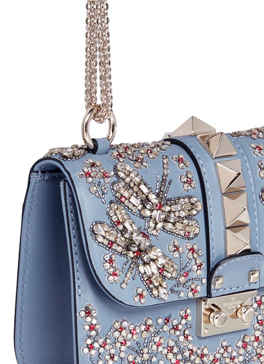 Valentino Glam Lock Shoulder Bag Embellished Leather Small tydnFEZdMu