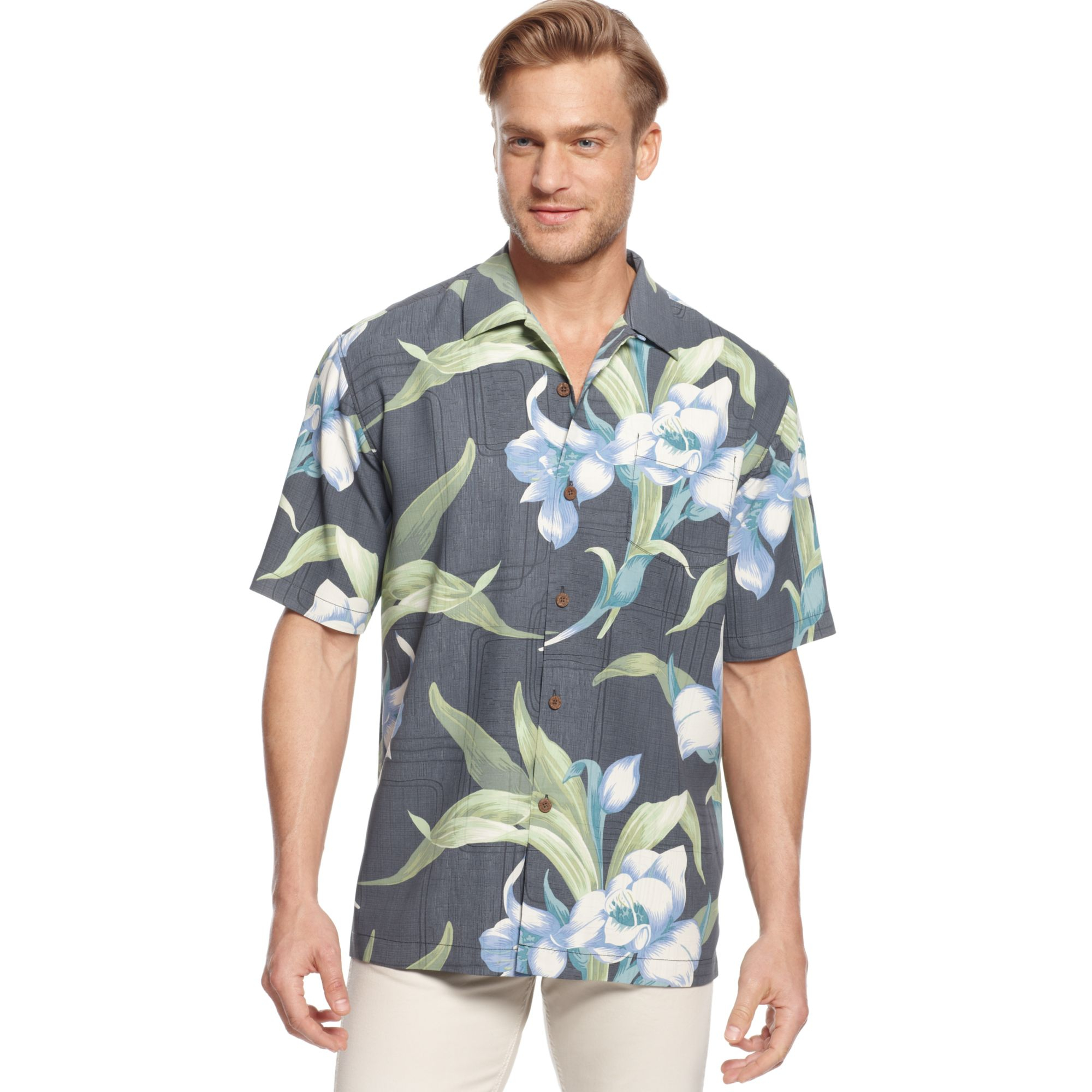 Tommy Bahama The Grand Floralscape Silk Shirt In Blue For