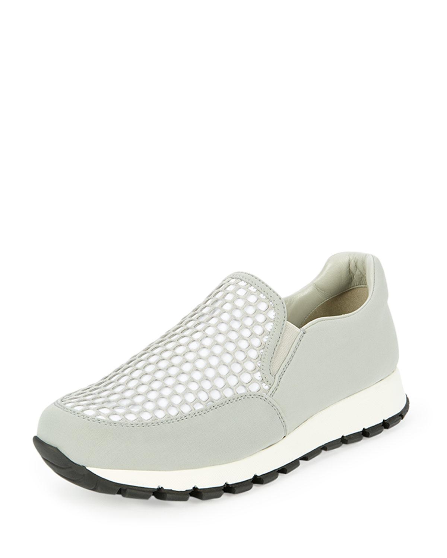 Sneaker Slip In Fabric Lyst On Mesh White Prada eBxodC