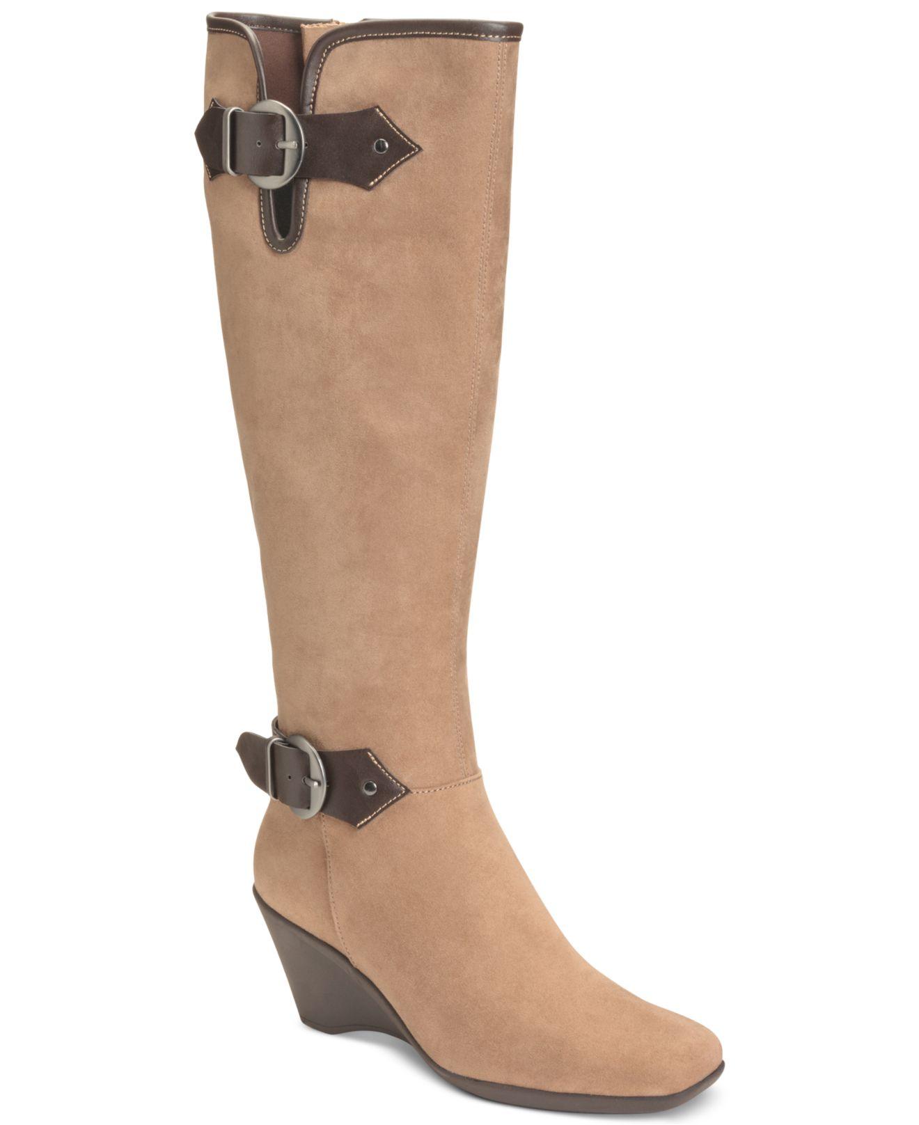 aerosoles brown wonderful wedge boots lyst