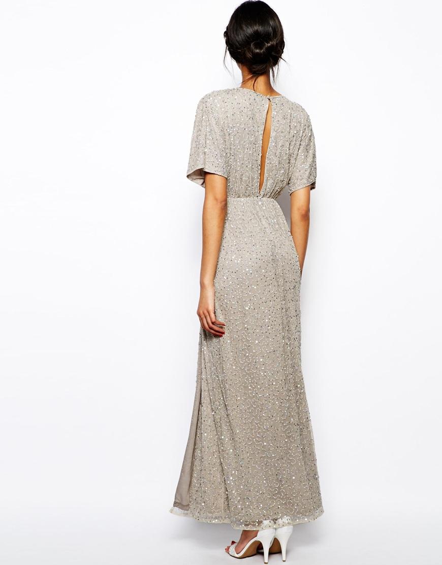 a81b73e3d273a Lyst - ASOS Sequin Kimono Maxi Dress in Gray