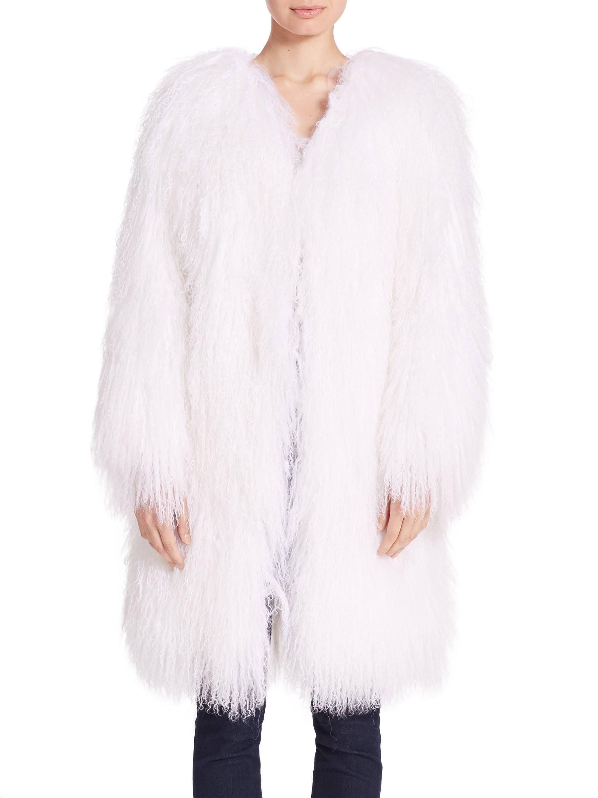 Adrienne landau Mongolian Lamb Fur Coat in White | Lyst