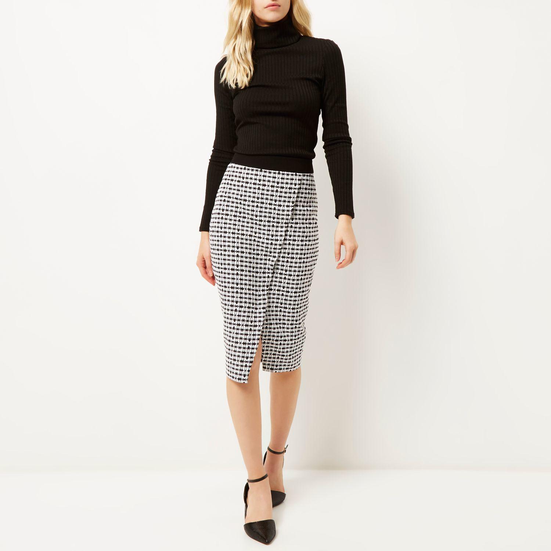 River island Black Print Wrap Pencil Skirt in Black | Lyst