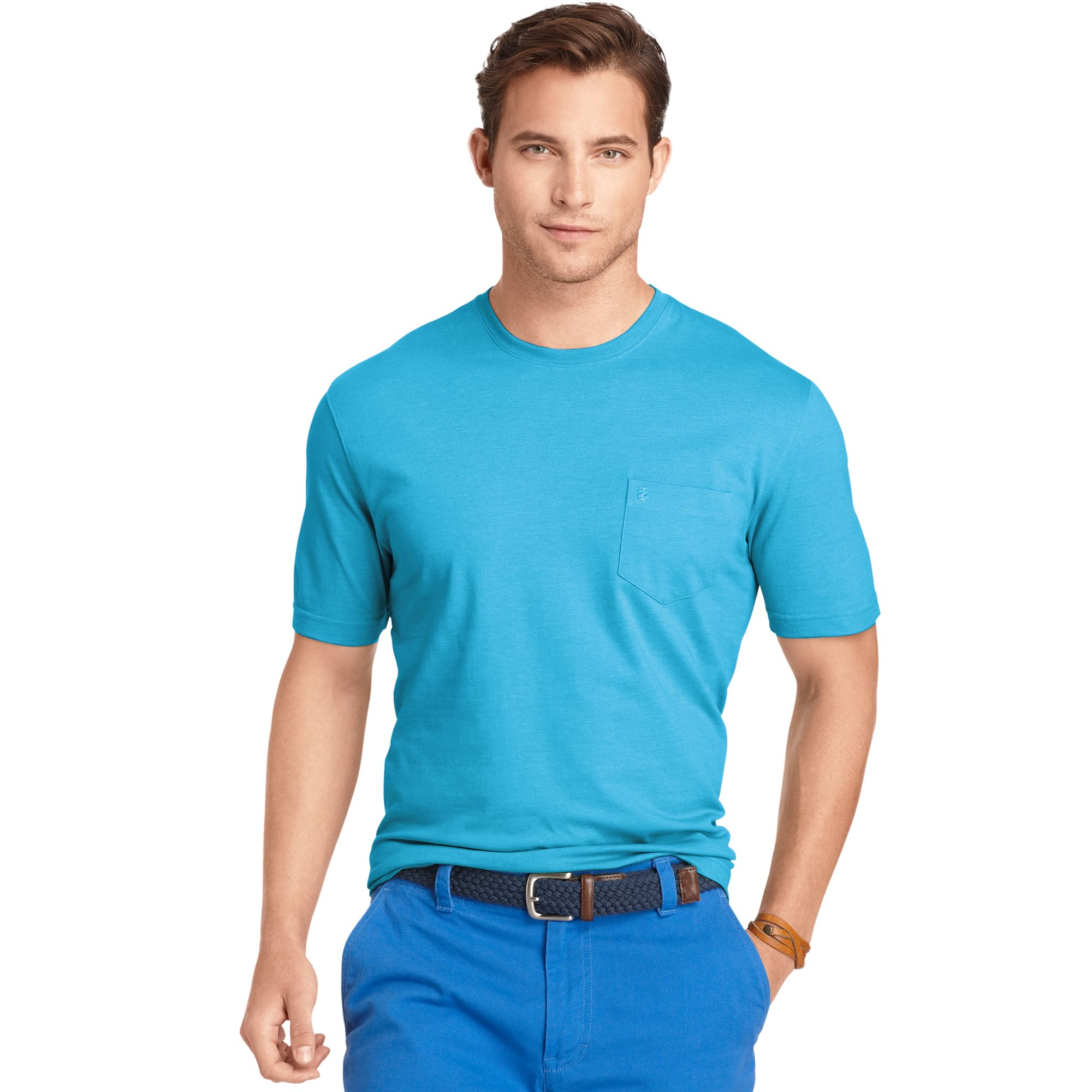 Izod big and tall solid tshirt in blue for men blue for Izod big and tall shirts