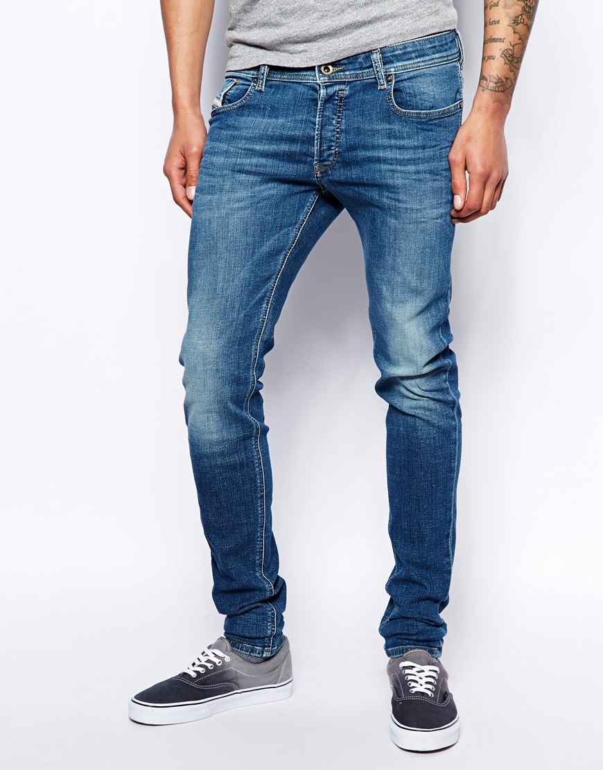 diesel jeans sleenker 608j stretch skinny mid wash in blue for men lyst. Black Bedroom Furniture Sets. Home Design Ideas