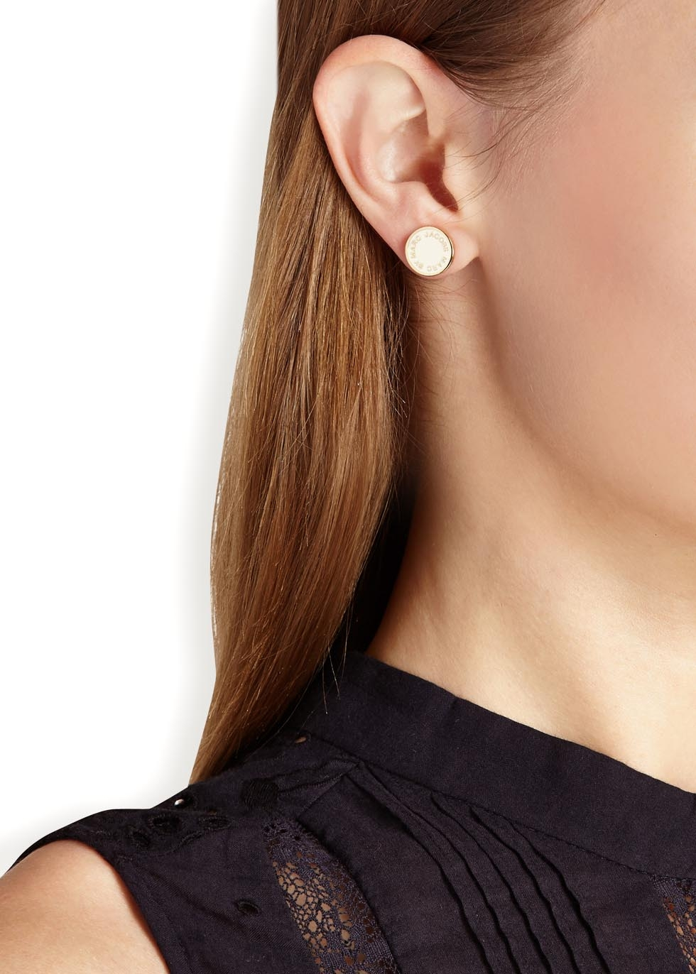 Marc By Jacobs Logo Disc O Cream Enamel Stud Earrings In