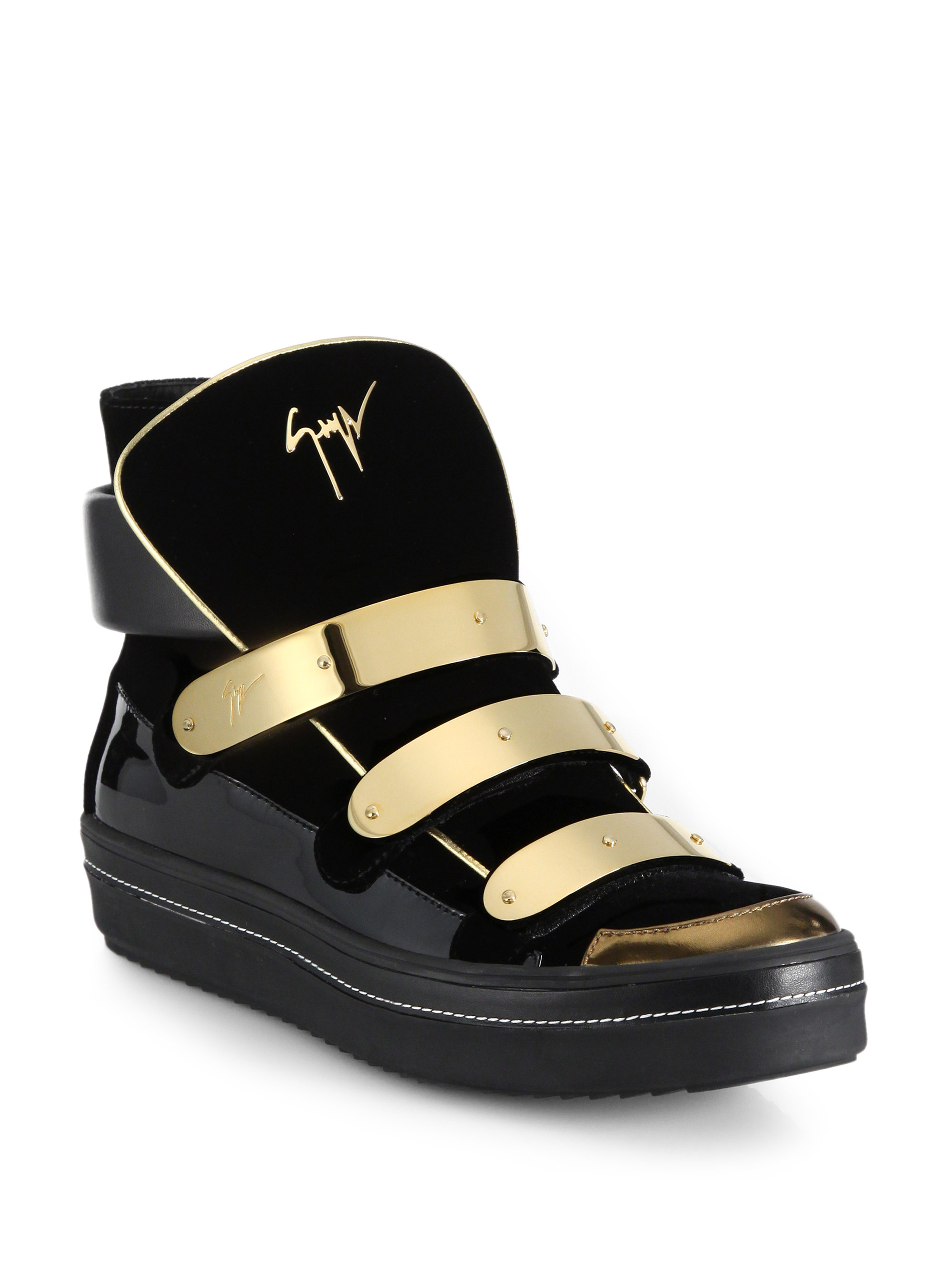 000d9f00e7c Lyst - Giuseppe Zanotti Space Velvet and Patent Leather High-Top ...